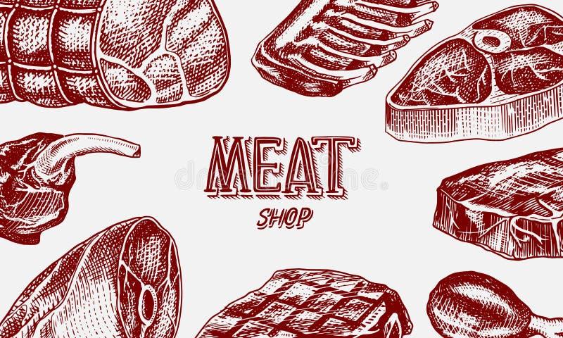 Ψημένη στη σχάρα αφίσα κρέατος, χοιρινό κρέας ή μπριζόλα βόειου κρέατος BBQ σχαρών έμβλημα Τρόφιμα στο εκλεκτής ποιότητας ύφος Υπ απεικόνιση αποθεμάτων