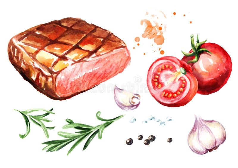 Ψημένη στη σχάρα μπριζόλα βόειου κρέατος με το αλάτι, το πιπέρι, το δεντρολίβανο, το σκόρδο και τις φρέσκες ντομάτες καθορισμένα  ελεύθερη απεικόνιση δικαιώματος