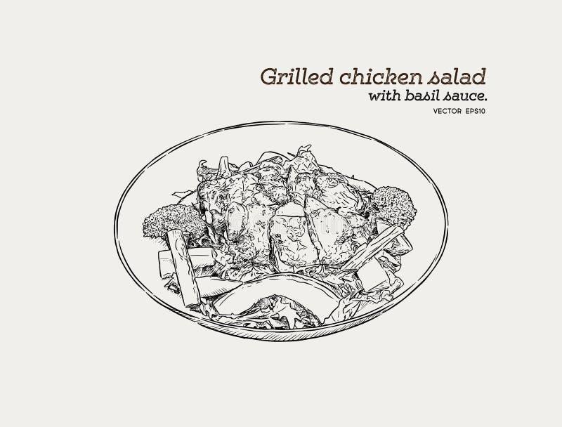 Ψημένη στη σχάρα σαλάτα κοτόπουλου με τη σάλτσα pesto Το χέρι σύρει τα τρόφιμα VE σκίτσων απεικόνιση αποθεμάτων