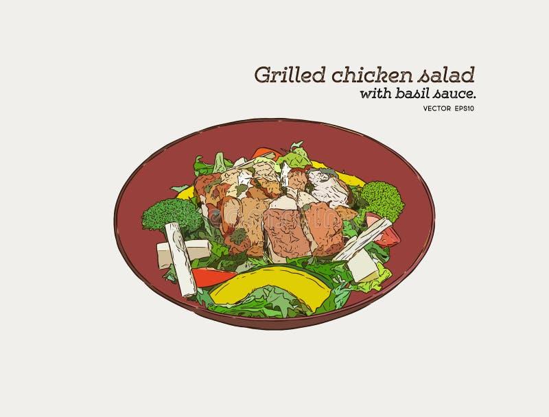 Ψημένη στη σχάρα σαλάτα κοτόπουλου με τη σάλτσα pesto Το χέρι σύρει τα τρόφιμα VE σκίτσων διανυσματική απεικόνιση