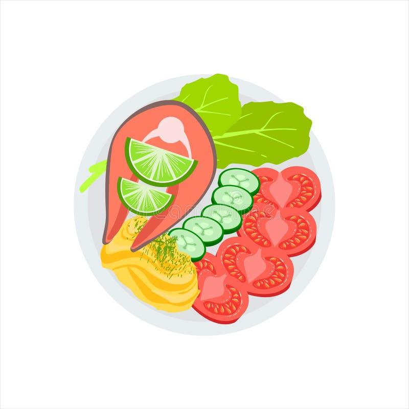 Ψημένη στη σχάρα σολομός μπριζόλα και πλευρά των φρέσκων λαχανικών και πολτοποιηίδα διανυσματική απεικόνιση πατατών των τροφίμων  ελεύθερη απεικόνιση δικαιώματος