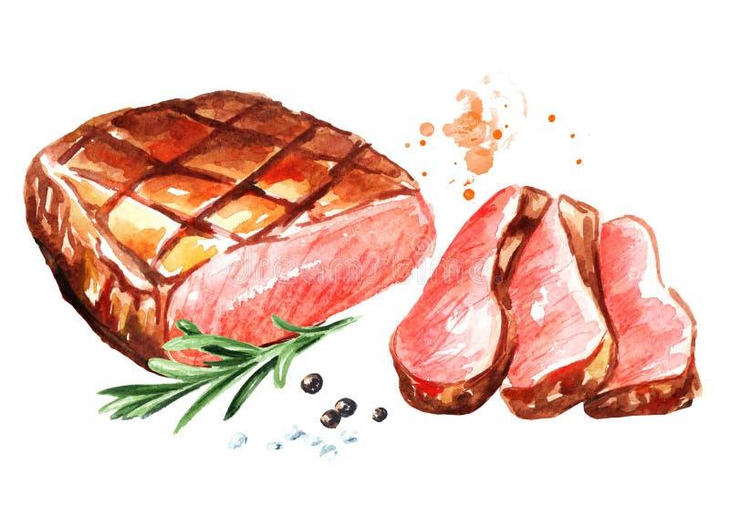 Ψημένη στη σχάρα τεμαχισμένη μπριζόλα βόειου κρέατος με τα καρυκεύματα Συρμένη χέρι απεικόνιση Watercolor, που απομονώνεται στο ά διανυσματική απεικόνιση