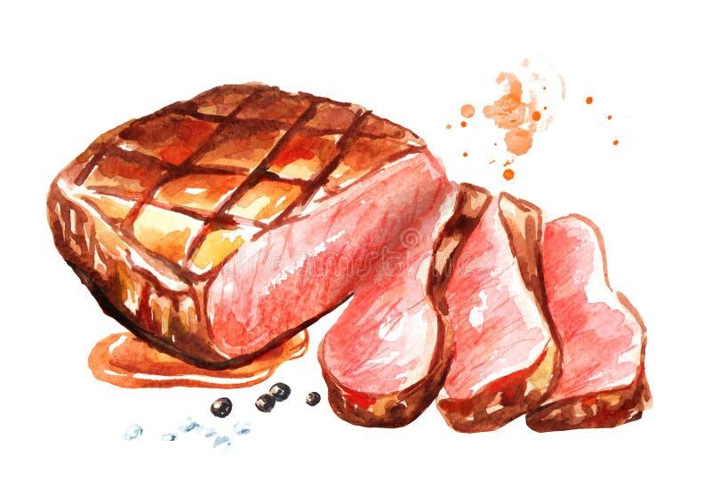 Ψημένη στη σχάρα τεμαχισμένη μπριζόλα βόειου κρέατος Συρμένη χέρι απεικόνιση Watercolor, που απομονώνεται στο άσπρο υπόβαθρο διανυσματική απεικόνιση