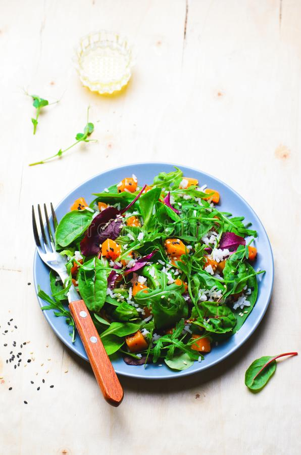 Ψημένη υγιής χορτοφάγος σαλάτα κολοκύθας, κολοκύνθη Butternut, ρύζι και σαλάτα σπόρων σουσαμιού στοκ εικόνες