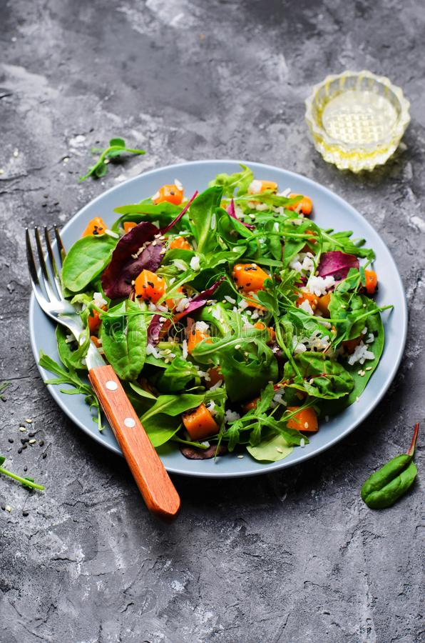 Ψημένη υγιής χορτοφάγος σαλάτα κολοκύθας, κολοκύνθη Butternut, ρύζι και σαλάτα σπόρων σουσαμιού στοκ εικόνες με δικαίωμα ελεύθερης χρήσης