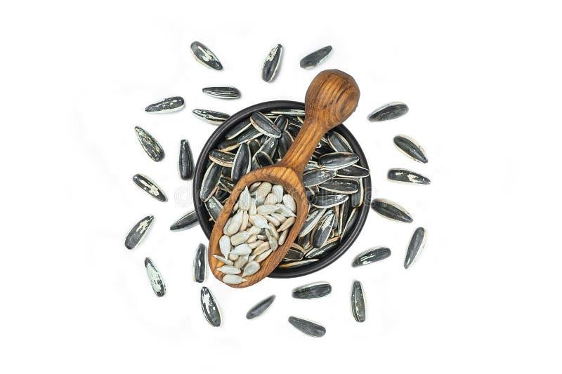 Ψημένοι σπόροι ηλίανθων στο κύπελλο και το ξύλινο κουτάλι ή φτυάρι στο απομονωμένο άσπρο υπόβαθρο στοκ εικόνα με δικαίωμα ελεύθερης χρήσης