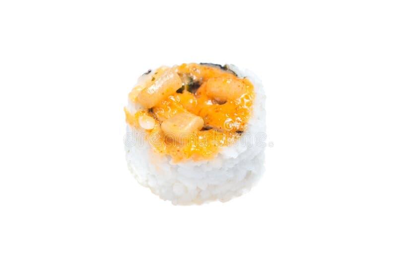 Ψημένος ρόλος του Hokkaido με τον τόνο, καλαμάρι, nori, πράσινο κρεμμύδι, πικάντικη σάλτσα στοκ φωτογραφία με δικαίωμα ελεύθερης χρήσης