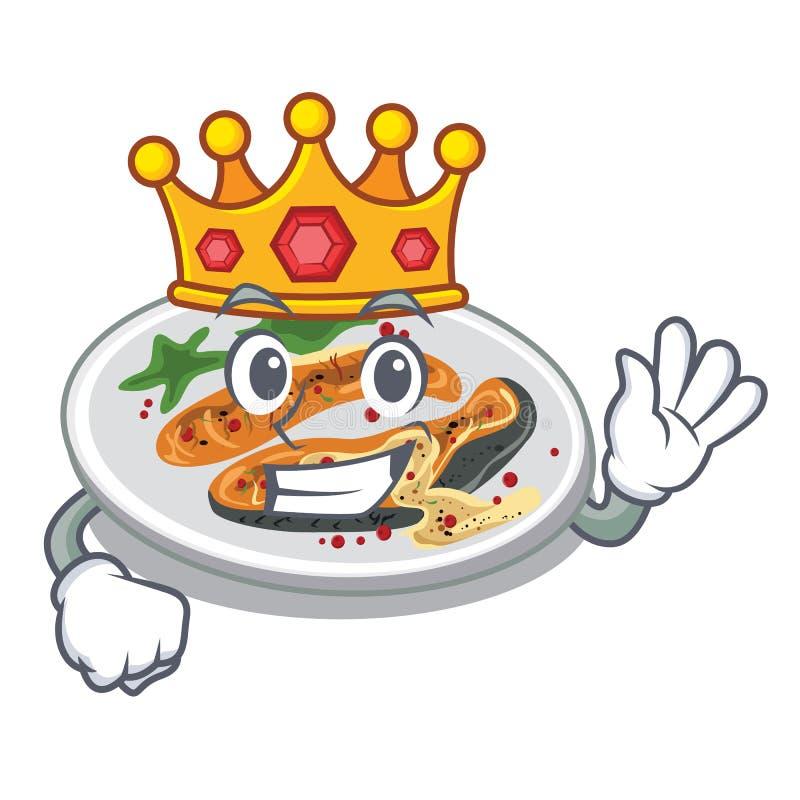 Ψημένος στη σχάρα βασιλιάς σολομός σε ένα πιάτο κινούμενων σχεδίων διανυσματική απεικόνιση