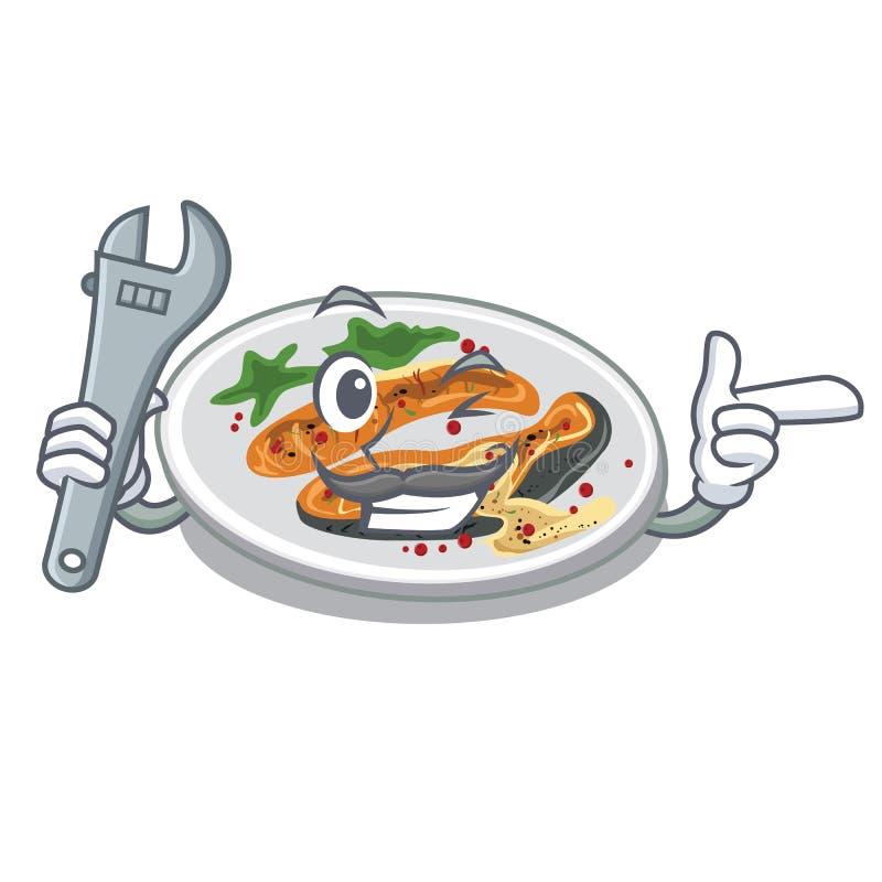Ψημένος στη σχάρα μηχανικός σολομός σε ένα πιάτο κινούμενων σχεδίων ελεύθερη απεικόνιση δικαιώματος
