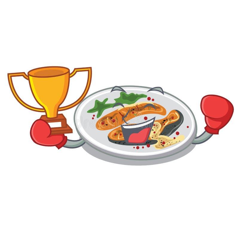 Ψημένος στη σχάρα νικητής σολομός εγκιβωτισμού σε ένα πιάτο κινούμενων σχεδίων διανυσματική απεικόνιση