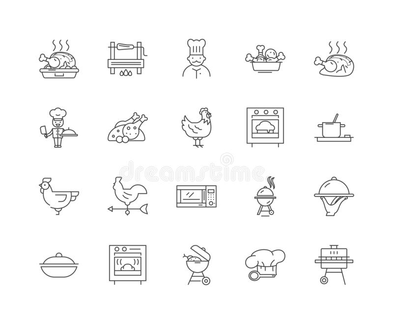Ψημένος στη σχάρα τα εικονίδια γραμμών, σημάδια, διανυσματικό σύνολο, έννοια απεικόνισης περιλήψεων απεικόνιση αποθεμάτων