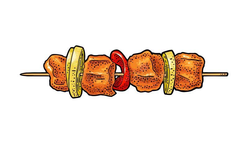 ψημένος στη σχάρα kebab Εκλεκτής ποιότητας απεικόνιση χάραξης χρώματος διανυσματική διανυσματική απεικόνιση