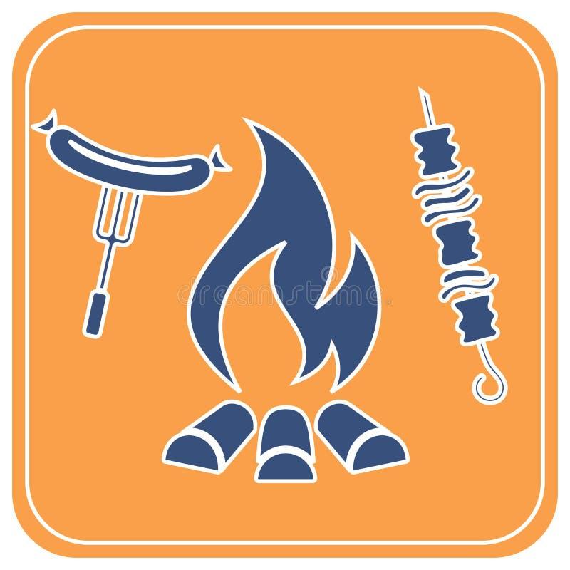Ψημένος στη σχάρα kebab και εικονίδιο λουκάνικων διανυσματική απεικόνιση