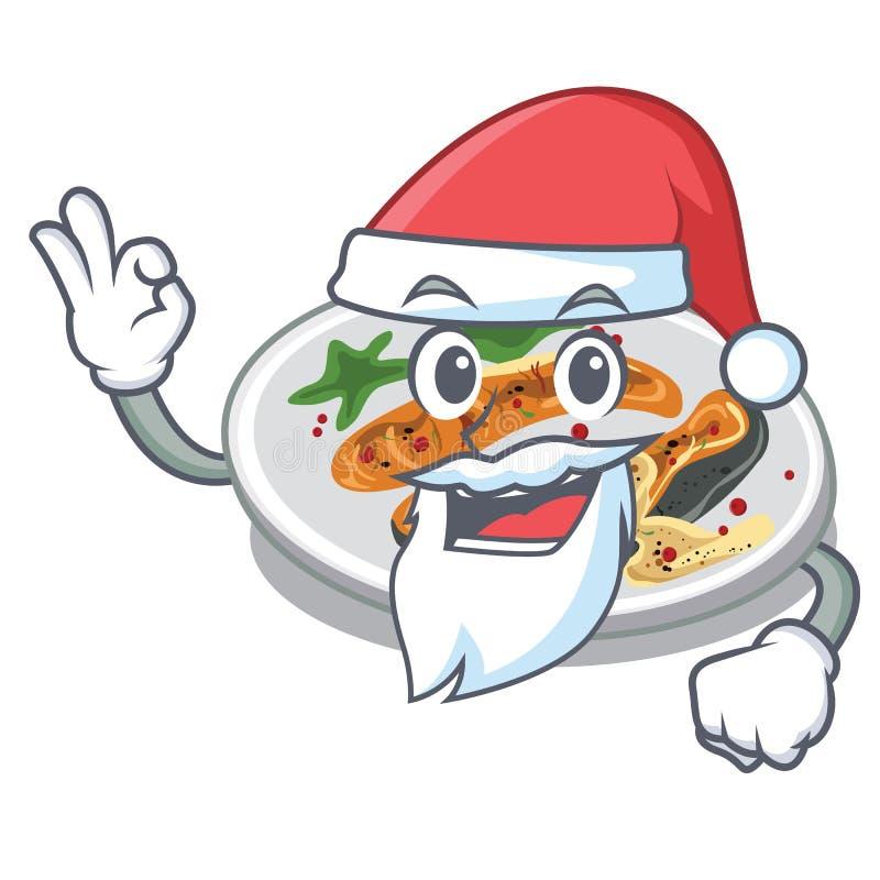 Ψημένος στη σχάρα Santa σολομός σε ένα πιάτο κινούμενων σχεδίων ελεύθερη απεικόνιση δικαιώματος