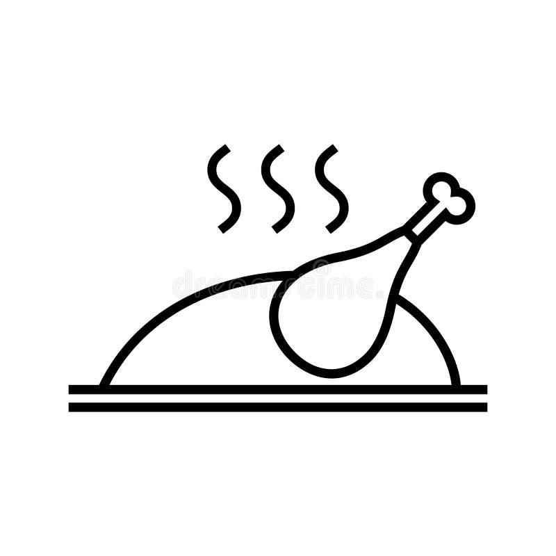Ψημένος, τηγανισμένος, ψητό, ψημένο στη σχάρα κοτόπουλο ή εικονίδιο της Τουρκίας απεικόνιση αποθεμάτων