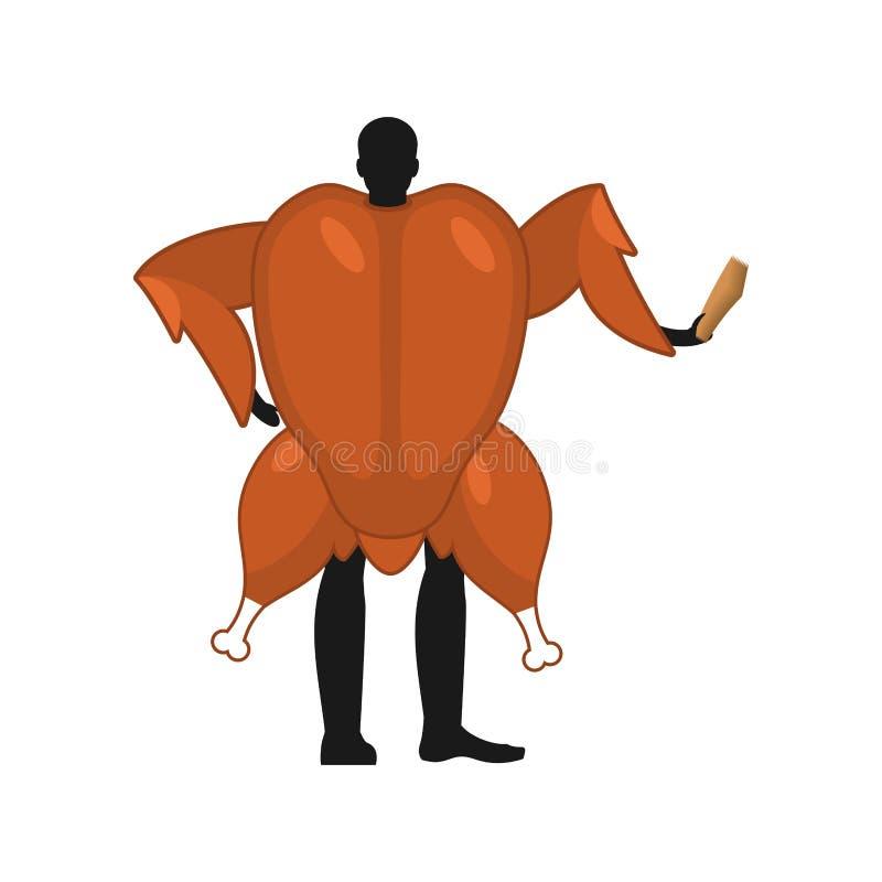 Ψημένος υποστηρικτής ατόμων μασκότ της Τουρκίας Το άτομο έντυσε ως τηγανισμένο κοτόπουλο δ διανυσματική απεικόνιση
