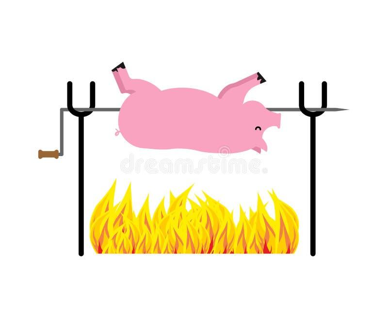 Ψημένος χοίρος στον οβελό Χοιρινό κρέας στην πυρκαγιά επίσης corel σύρετε το διάνυσμα απεικόνισης απεικόνιση αποθεμάτων