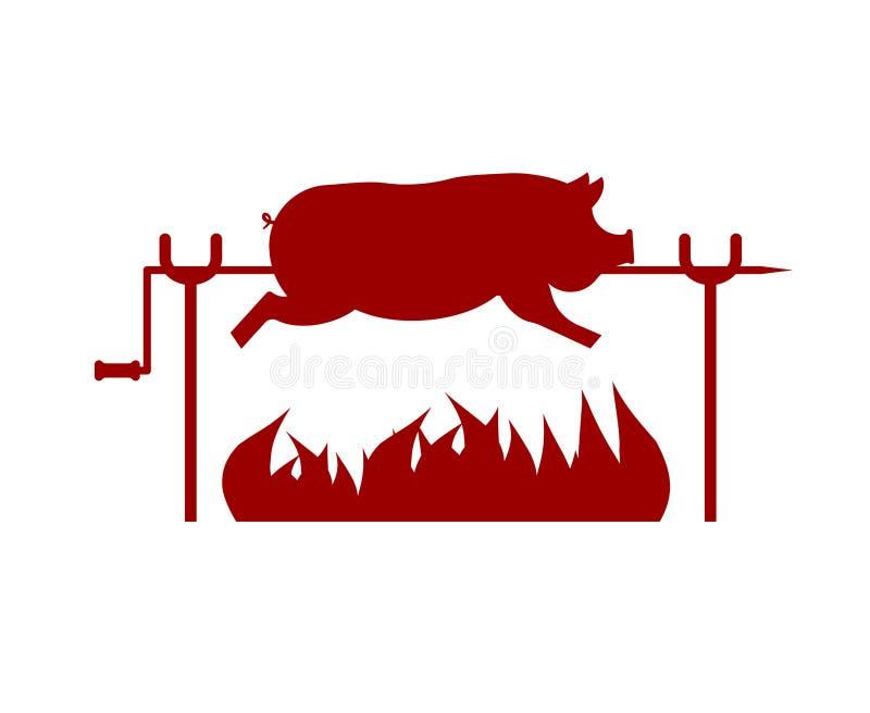 Ψημένος χοίρος στον οβελό Χοιρινό κρέας στην πυρκαγιά επίσης corel σύρετε το διάνυσμα απεικόνισης ελεύθερη απεικόνιση δικαιώματος
