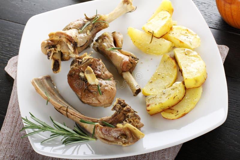 Ψημένο αρνί με τις πατάτες στοκ εικόνες με δικαίωμα ελεύθερης χρήσης