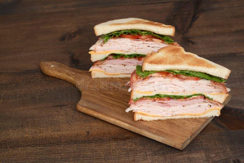 Ψημένο σάντουιτς λεσχών κοτόπουλου στοκ εικόνα
