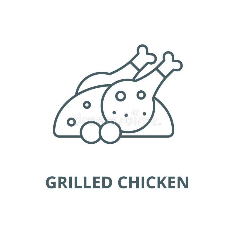 Ψημένο στη σχάρα εικονίδιο γραμμών κοτόπουλου διανυσματικό, γραμμική έννοια, σημάδι περιλήψεων, σύμβολο απεικόνιση αποθεμάτων