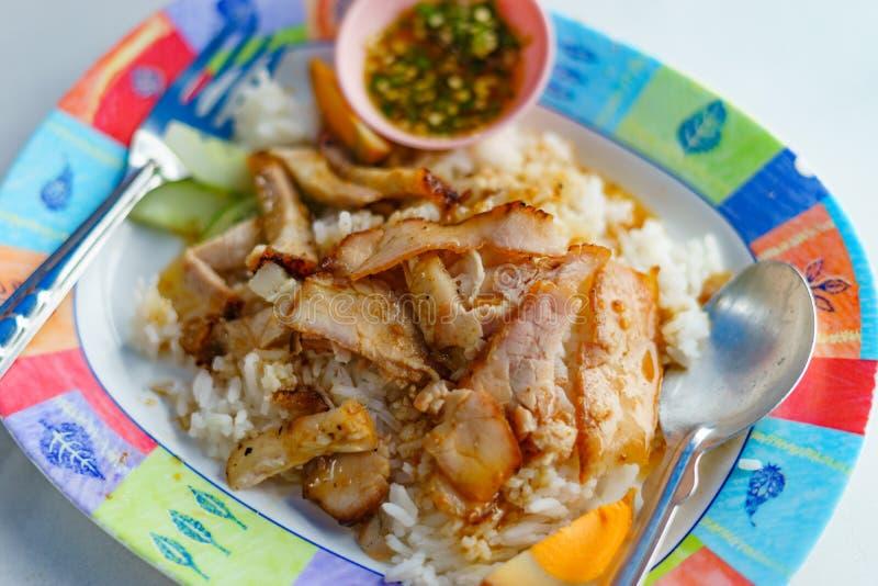 Ψημένο στη σχάρα κόκκινο χοιρινό κρέας στη σάλτσα με το ρύζι στοκ φωτογραφία