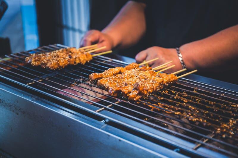 Ψημένο στη σχάρα ραβδί χοιρινού κρέατος στοκ εικόνες