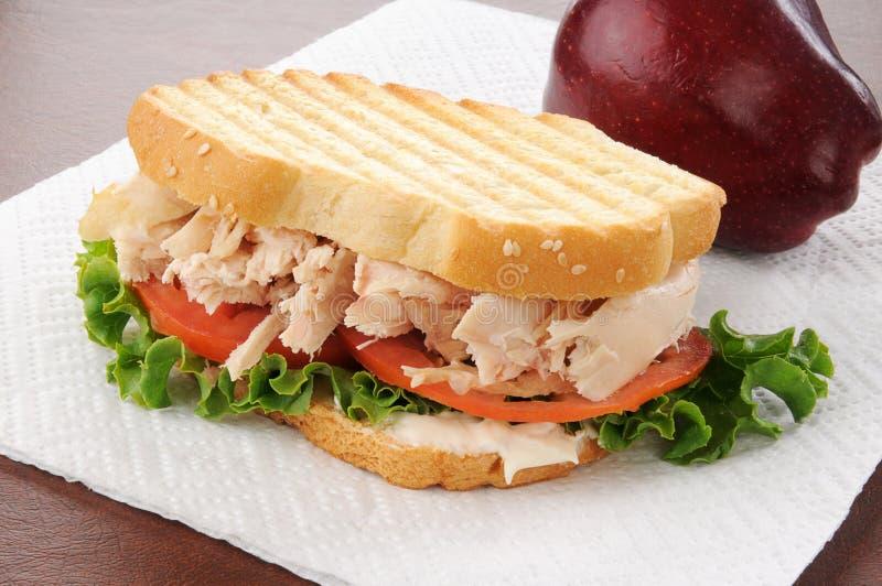 Ψημένο στη σχάρα σάντουιτς κοτόπουλου με ένα μήλο στοκ εικόνες με δικαίωμα ελεύθερης χρήσης