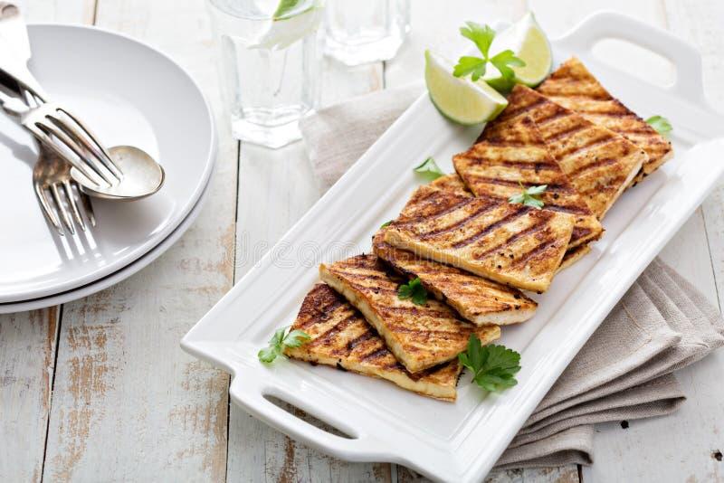 Ψημένο στη σχάρα τηγανισμένο tofu σε ένα πιάτο στοκ εικόνα με δικαίωμα ελεύθερης χρήσης