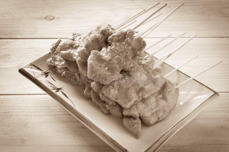 Ψημένο στη σχάρα χοιρινό κρέας με το κολλώδες ρύζι, εκλεκτής ποιότητας φίλτρο επίδρασης στοκ φωτογραφία με δικαίωμα ελεύθερης χρήσης