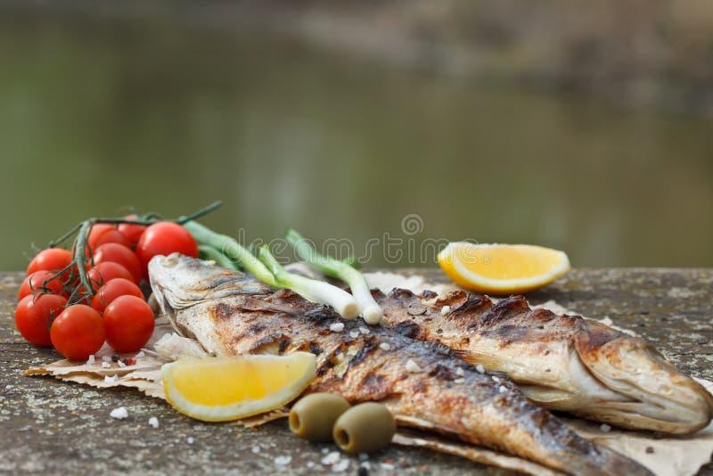 Ψημένο στη σχάρα seabass με την ντομάτα, το λεμόνι και το δεντρολίβανο στοκ εικόνες με δικαίωμα ελεύθερης χρήσης
