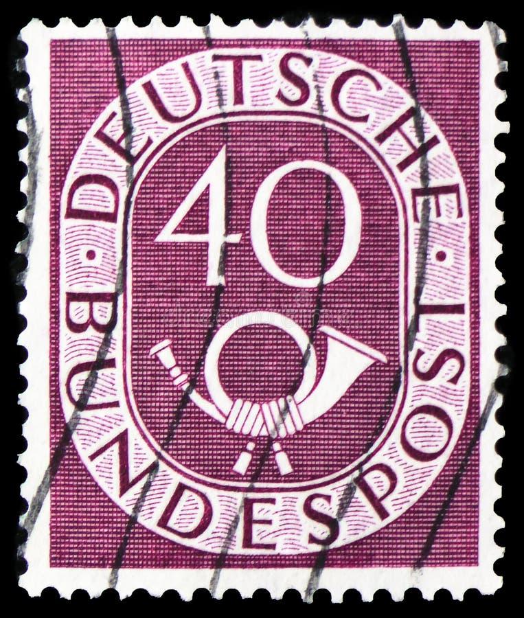 Ψηφία με Posthorn, serie, circa 1951 στοκ φωτογραφίες