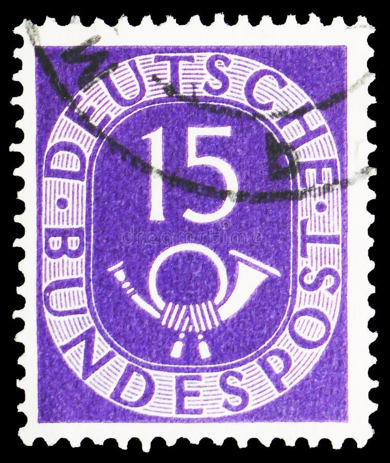Ψηφία με Posthorn, serie, circa 1951 στοκ φωτογραφία με δικαίωμα ελεύθερης χρήσης