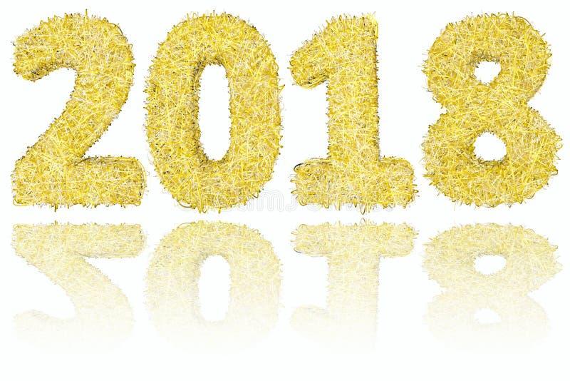 2018 ψηφία που αποτελούνται από τα χρυσά και ασημένια λωρίδες στο στιλπνό άσπρο υπόβαθρο ελεύθερη απεικόνιση δικαιώματος