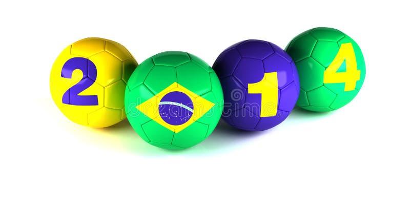 Ψηφία του έτους και του brazi του 2014 flagl με τις σφαίρες ποδοσφαίρου ελεύθερη απεικόνιση δικαιώματος