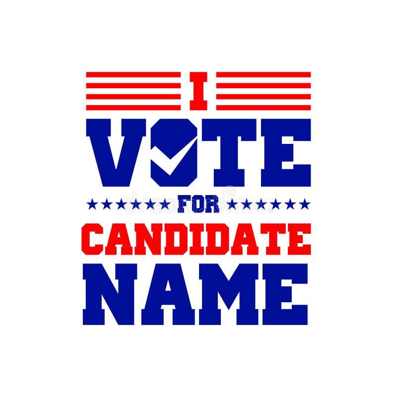 Ψηφίζω για το γραφικό σχέδιο υποψηφίων διανυσματική απεικόνιση