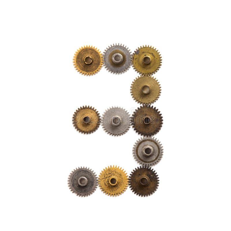 Ψηφίο αριθμός τρία μηχανικό σχέδιο εργαλείων βαραίνω steampunk Παλαιό σκουριασμένο shabby κατασκευασμένο βιομηχανικό σχήμα 3 μετά στοκ φωτογραφίες