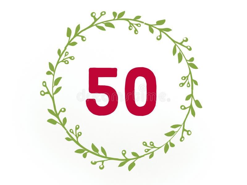 Ψηφίο δεκαπέντε 50 στο κόκκινο χρώμα στον κύκλο φύλλων απεικόνιση αποθεμάτων