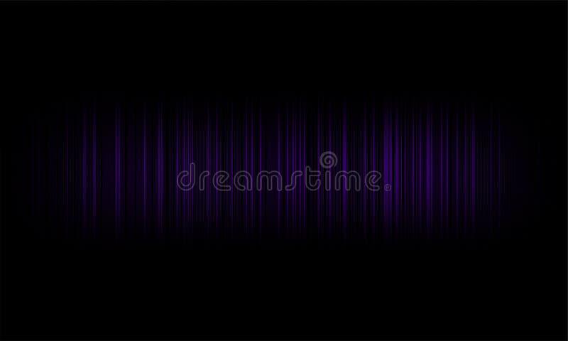 Ψηφιακά ακουστικά υγιή κύματα εξισωτών στο μαύρο υπόβαθρο, στερεοφωνικό υγιές σήμα επίδρασης διανυσματική απεικόνιση