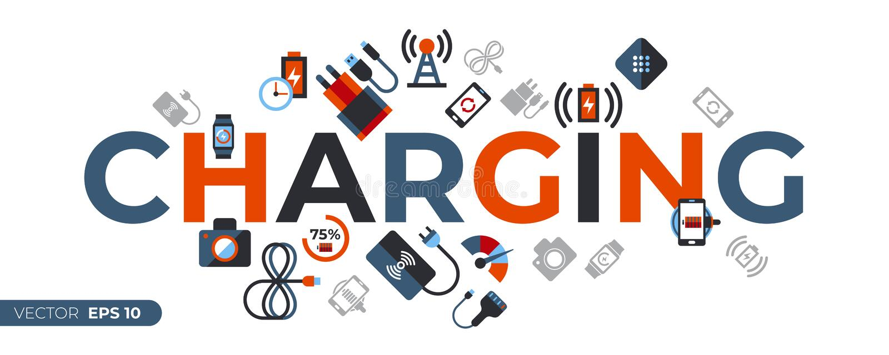 Ψηφιακά διανυσματικά ασύρματα εικονίδια χρέωσης καθορισμένα ελεύθερη απεικόνιση δικαιώματος