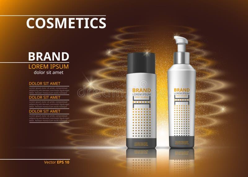 Ψηφιακά διανυσματικά ρεαλιστικά μπουκάλια καλλυντικών για την επεξεργασία τρίχας ή bodycare Προϊόντα ομορφιάς με το σχέδιο ετικετ διανυσματική απεικόνιση