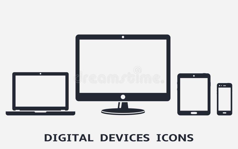 Ψηφιακά εικονίδια συσκευών: έξυπνοι τηλέφωνο, ταμπλέτα, lap-top και υπολογιστής γραφείου r απεικόνιση αποθεμάτων