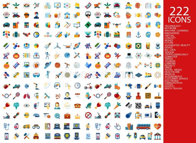 Ψηφιακά 222 εικονίδια χρώματος διανυσματική απεικόνιση