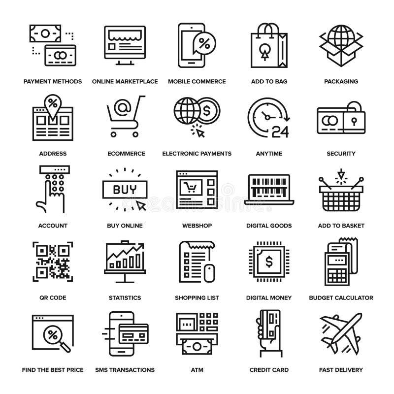 Ψηφιακά εικονίδια εμπορίου ελεύθερη απεικόνιση δικαιώματος
