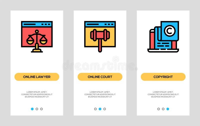 Ψηφιακά εμβλήματα νόμου και πνευματικών δικαιωμάτων Σε απευθείας σύνδεση δικηγόρος, σε απευθείας σύνδεση κάθετες κάρτες δικαστηρί ελεύθερη απεικόνιση δικαιώματος