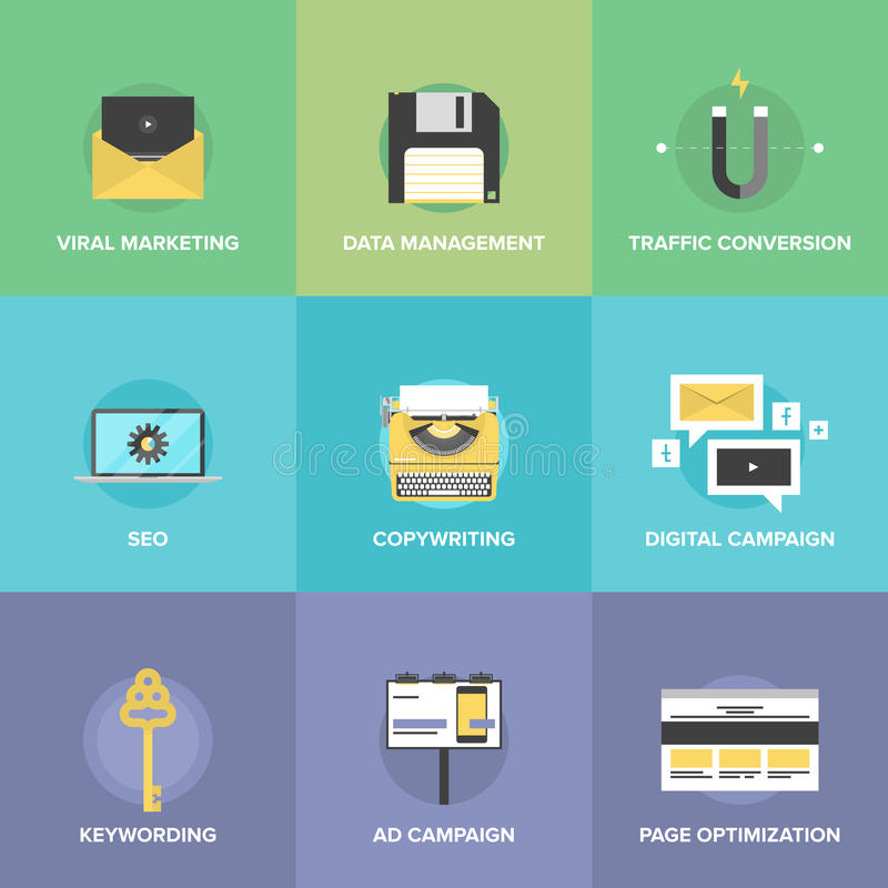 Ψηφιακά επίπεδα εικονίδια μάρκετινγκ και βελτιστοποίησης Ιστού διανυσματική απεικόνιση