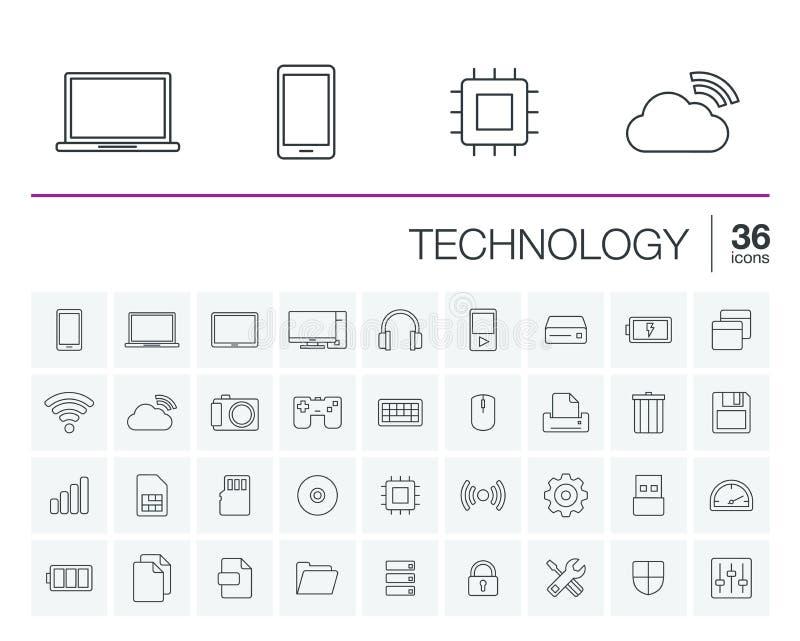 Ψηφιακά διανυσματικά εικονίδια τεχνολογίας διανυσματική απεικόνιση