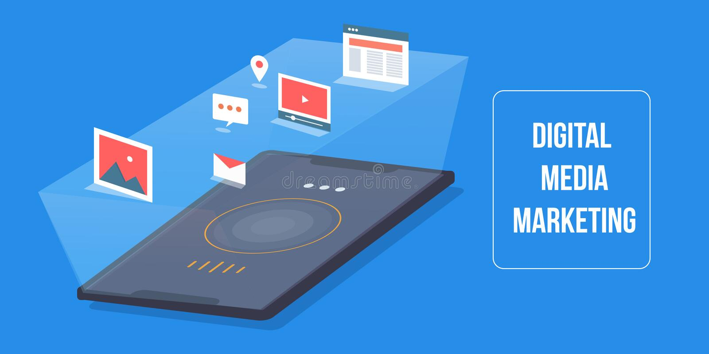 Ψηφιακά μέσα που εμπορεύονται, κινητή εφαρμογή, σε απευθείας σύνδεση ικανοποιημένη, έξυπνη αναζήτηση, ηλεκτρονικό ταχυδρομείο, βί απεικόνιση αποθεμάτων