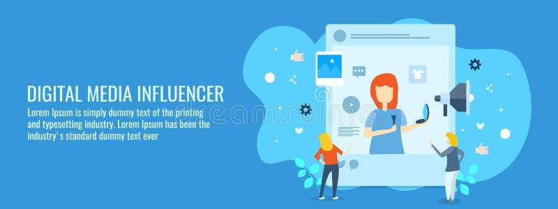 Ψηφιακά μέσα, influencer εμπορικός, κοινωνικοί οπαδοί μέσων, δεσμεύοντας άνθρωποι στην ψηφιακή έννοια μέσων Επίπεδο διανυσματικό  ελεύθερη απεικόνιση δικαιώματος