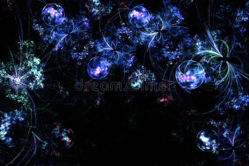 Ψηφιακά παραγμένη εικόνα Ζωηρόχρωμο fractal, εορταστικό σχέδιο με τις διακοσμητικές σφαίρες Χριστουγέννων διανυσματική απεικόνιση